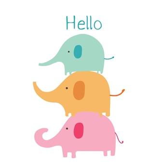 Cartone animato carino elefante.