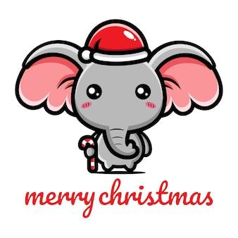 Simpatico elefante che festeggia il natale