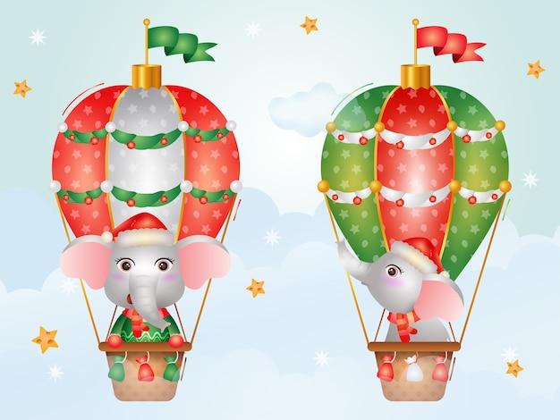 Simpatici personaggi natalizi elefanti in mongolfiera con un cappello da babbo natale, una giacca e una sciarpa