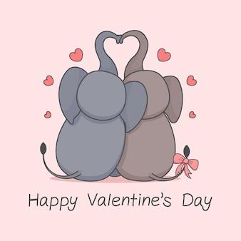 Coppia di elefanti carini dal giorno di san valentino indietro
