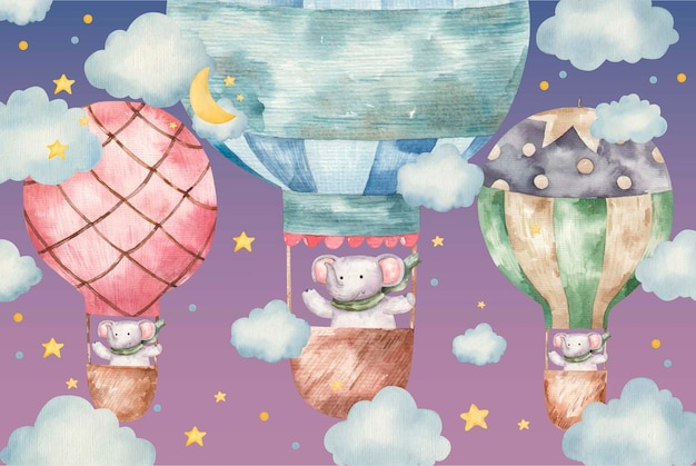 Simpatico elefante vola su palloncini colorati, illustrazione ad acquerello per bambini su sfondo bianco