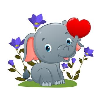 Il simpatico elefante è seduto e tiene in mano il palloncino dell'amore con la sua proboscide nel giardino dell'illustrazione