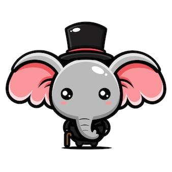 Simpatico personaggio mascotte elefante