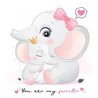 Illustrazione sveglia della madre e del bambino dell'elefante