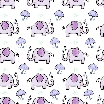 Modello senza cuciture sveglio dell'elefante e dell'ombrello