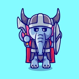 Simpatico elefante vichingo con ascia e scudo