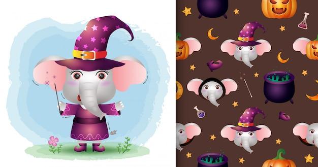 Un simpatico elefante con collezione di personaggi di halloween in costume. modelli senza cuciture e illustrazioni