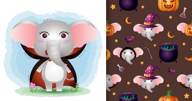Un simpatico elefante con il costume di dracula collezione di personaggi di halloween. modelli senza cuciture e illustrazioni