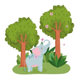 Elefante carino con fiori e alberi