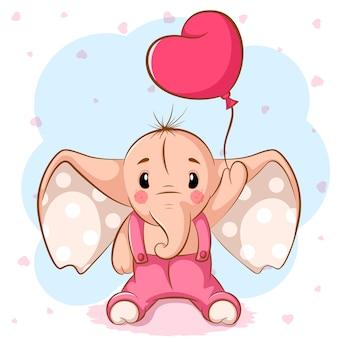 Elefante carino con palloncino rosa.