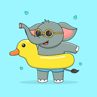 Simpatico elefante con anatra in gomma da nuoto e occhiali da sole