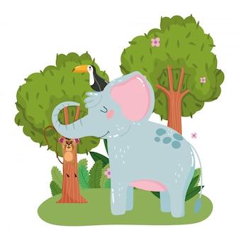 Elefante sveglio con il tucano e la scimmia che appendono sul ramo