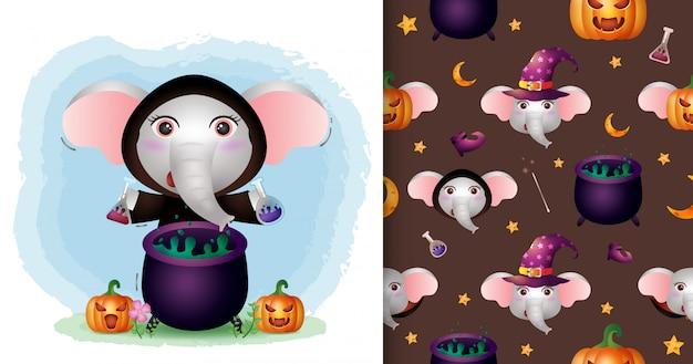 Un simpatico elefante con la collezione di personaggi di halloween in costume da strega. modelli senza cuciture e illustrazioni