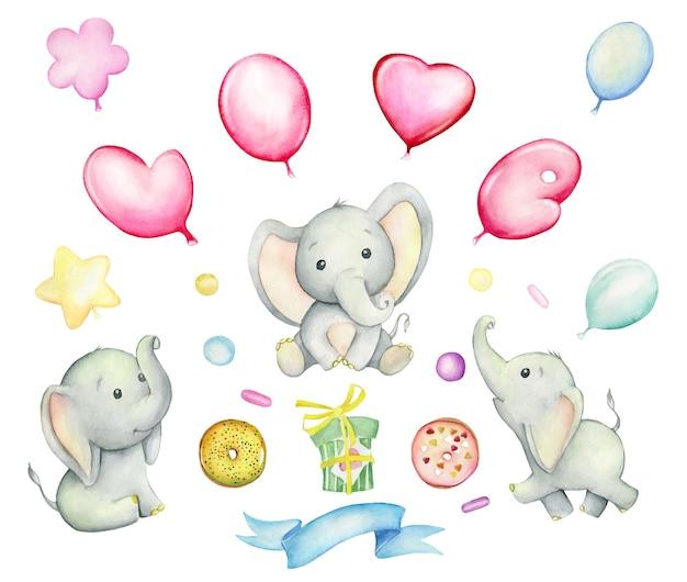 Simpatici elefanti, palloncini, ciambelle, regali, nastri. insieme dell'acquerello, su uno sfondo isolato.