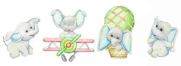 Carini, elefanti, su un aereo, in mongolfiera, un set di acquerelli, animali in stile cartone animato, su uno sfondo isolato.