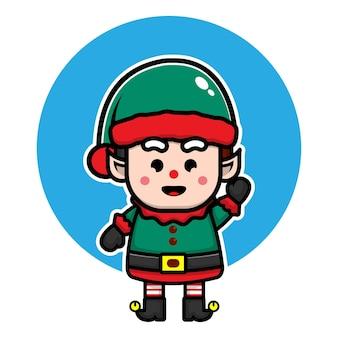 Concetto di vettore di natale dell'illustrazione del personaggio dei cartoni animati sveglio dell'elfo