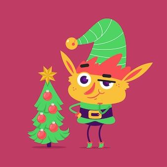 Carattere carino elfo con albero di natale isolato su sfondo.