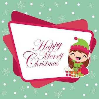 Ragazza carina elfo con sacchetto regalo di natale su sfondo di fiocchi di neve