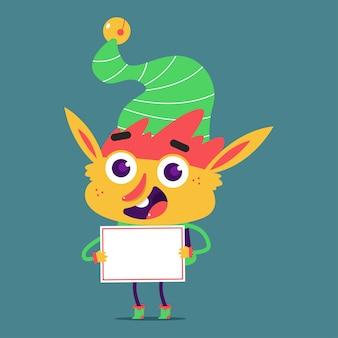 Elfo carino con personaggio dei cartoni animati segno vuoto isolato su priorità bassa.