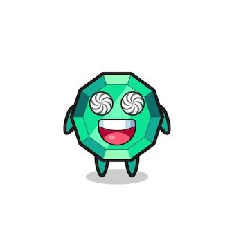 Simpatico personaggio di gemme color smeraldo con occhi ipnotizzati, design in stile carino per t-shirt, adesivo, elemento logo