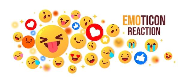 Emoji carino set illustrazione vettoriale di reazione emoticon gialla rotonda