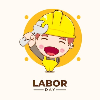 Ingegnere carino che celebra l'illustrazione del fumetto della festa del lavoro Vettore Premium