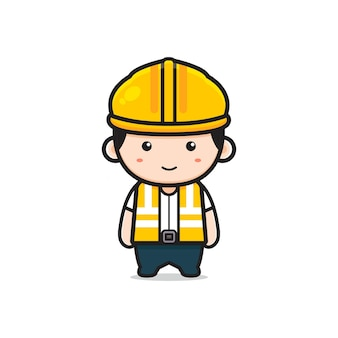 Illustrazione sveglia dell'icona del fumetto del carattere dell'ingegnere. design piatto isolato in stile cartone animato