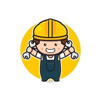 Illustrazione sveglia dell'icona del fumetto della chiave della tenuta dell'ingegnere. design piatto isolato in stile cartone animato