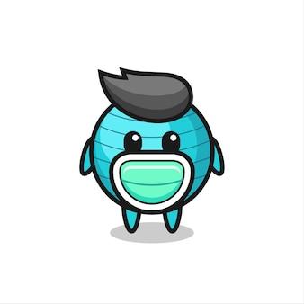 Simpatico cartone animato con palla da ginnastica che indossa una maschera, design in stile carino per maglietta, adesivo, elemento logo