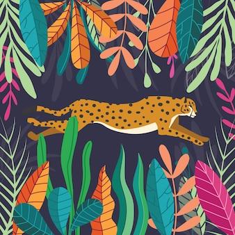 Ghepardo selvaggio esotico sveglio del grande gatto che corre sul fondo tropicale scuro con la raccolta delle piante esotiche. illustrazione piatta