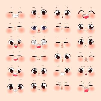 Set di cartoni animati di espressione carina