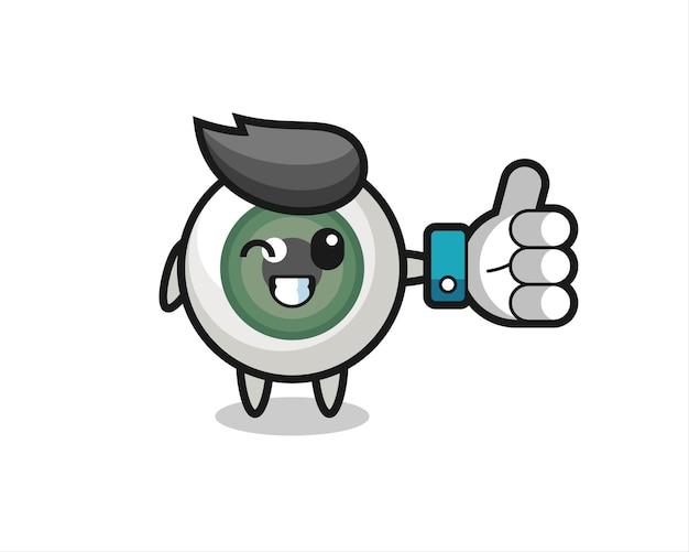 Simpatico bulbo oculare con simbolo del pollice in alto dei social media, design in stile carino per t-shirt, adesivo, elemento logo