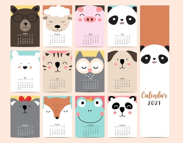 Calendario 2021 animale viso carino con panda, cane, gatto, rana, volpe, scimmia, koala per bambini, ragazzo, bambino