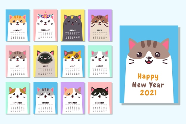 Modello di calendario 2021 di gatto faccia carina