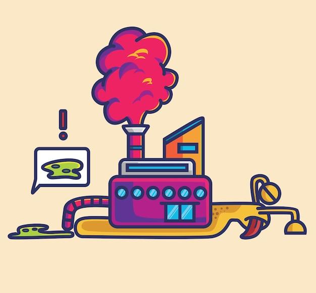 L'inquinamento di fabbrica carino fa morire l'animale. fumetto animale isolato piatto stile adesivo web design icona illustrazione vettore premium logo mascotte carattere