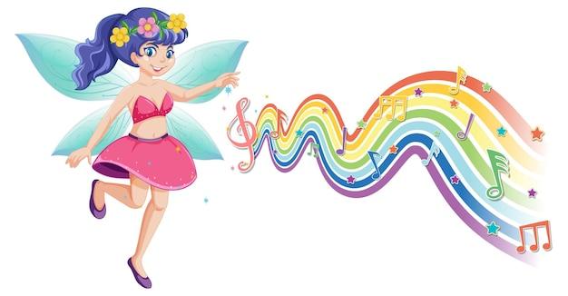 Simpatico personaggio dei cartoni animati fata con melodia arcobaleno wave