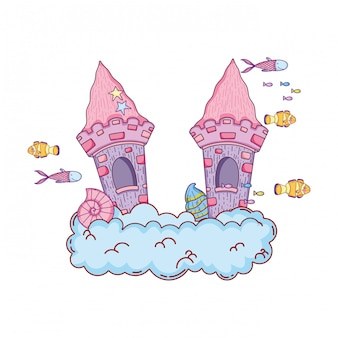 Castello da favola carino nella scena sottomarina nube