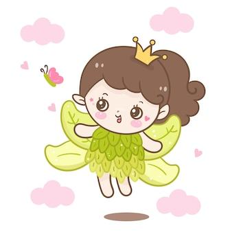 Principessa delle fiabe carina con farfalla cartoon