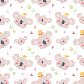 Simpatica famiglia di tessuti senza cuciture di koala