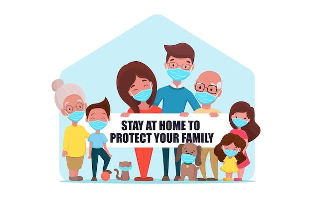 Famiglia carina in maschera medica e tenendo un bordo bianco con informazioni per rimanere a casa a causa della quarantena