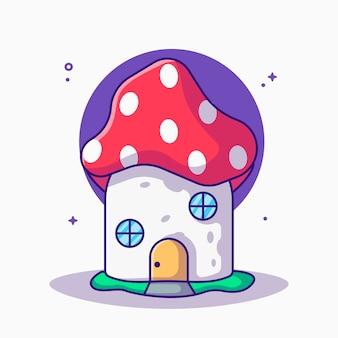 Cartone animato carino casa dei funghi fantasia fantasy