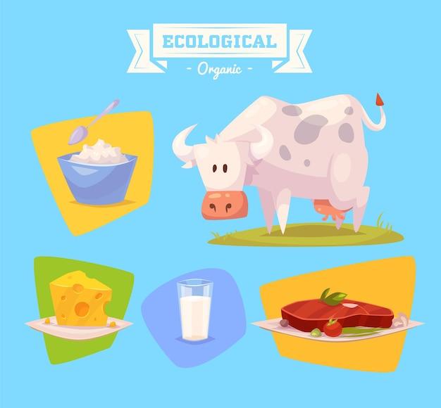 Mucca animale da fattoria carino. illustrazione di animali da fattoria isolati impostato su sfondo colorato. illustrazione vettoriale piatta. stock vettoriale.