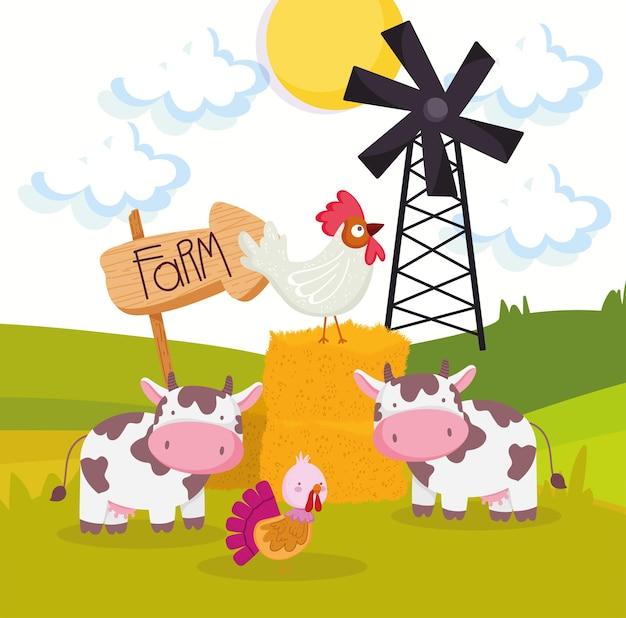 Simpatici cartoni animati di animali da fattoria
