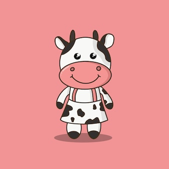 Illustrazione vettoriale di cartone animato carino fattoria mucca