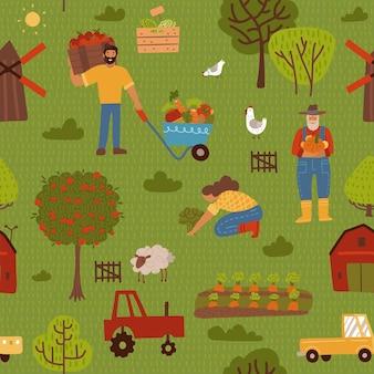 Modello senza cuciture carino fattoria con trattori carote recinzione alberi di mele e persone.