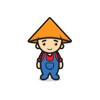 Simpatico personaggio mascotte ragazzo contadino. disegno isolato