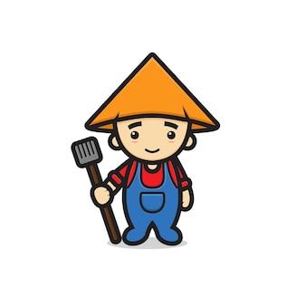 Carattere sveglio della mascotte del ragazzo dell'agricoltore che tiene la forcella a terra. disegno isolato