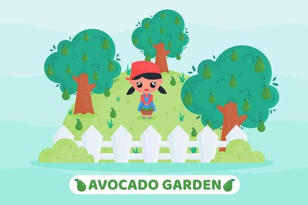 Simpatico agricoltore che raccoglie avocado nel giardino di avocado con in mano un cesto di frutta pieno di avocado