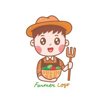 Simpatico cartone animato logo contadino disegnato a mano per fattoria.
