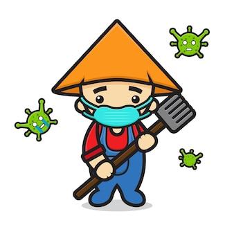 Simpatico personaggio mascotte contadino lotta contro l'illustrazione dell'icona del fumetto del virus. disegno isolato su bianco. stile cartone animato piatto.